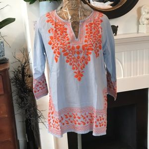 Gretchen Scott Designs L Embroidered Tunic Top